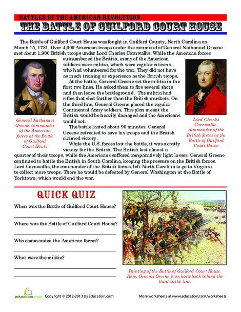 Fifth Grade Reading & Writing Worksheets: The Battle of Guilford Court House