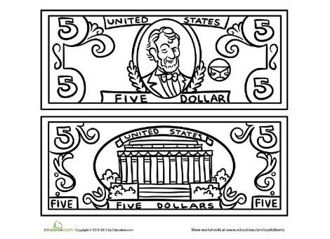 Preschool Math Worksheets: Five Dollar Bill Coloring Page