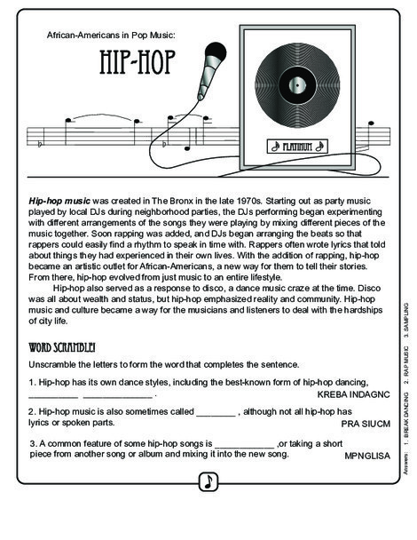 Fourth Grade Reading & Writing Worksheets: History of Hip Hop Music