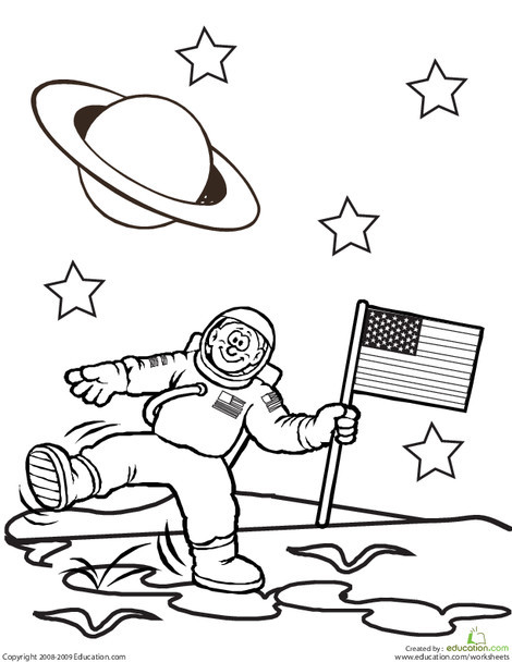 First Grade Coloring Worksheets: Color the Planetary Astronaut
