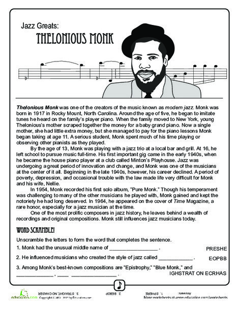 Fifth Grade Reading & Writing Worksheets: Jazz Greats - Thelonious Monk