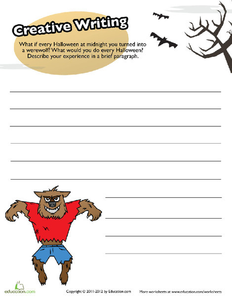 Fifth Grade Reading & Writing Worksheets: Werewolf Story Writing
