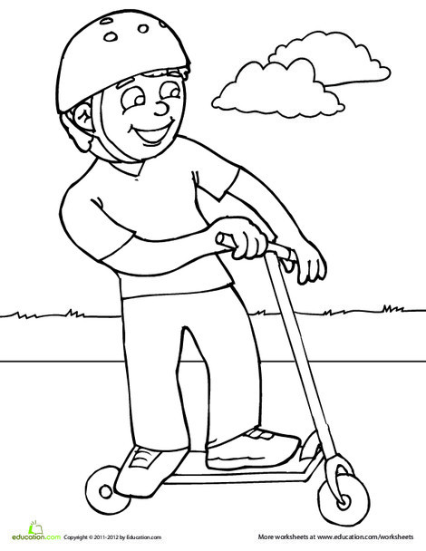 First Grade Coloring Worksheets: Scooter Coloring Page