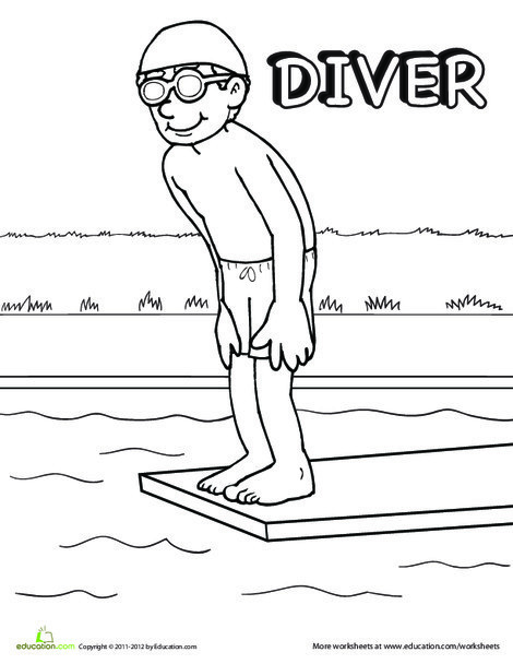 First Grade Coloring Worksheets: Diver Coloring Page