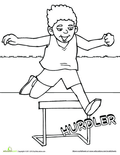 First Grade Coloring Worksheets: Track and Field Coloring Page