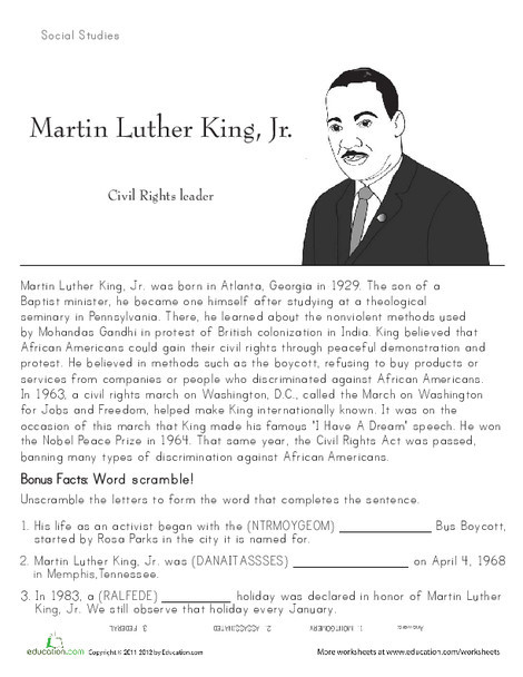 Second Grade Seasons Worksheets: Martin Luther King, Jr: Historical Heroes