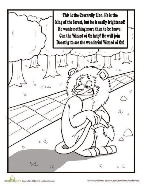 Second Grade Coloring Worksheets: The Cowardly Lion Coloring Page