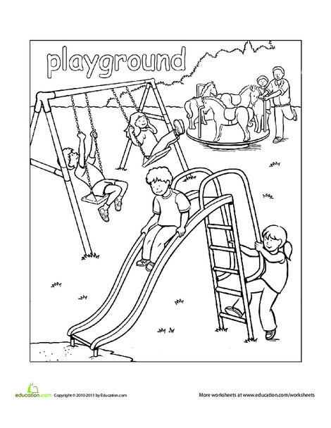 Preschool Coloring Worksheets: Playground Coloring Page