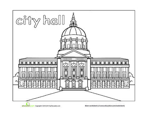 Preschool Coloring Worksheets: Paint the Town: City Hall