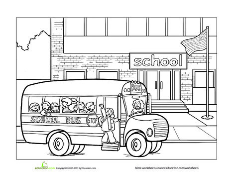 Preschool Coloring Worksheets: School Coloring Page