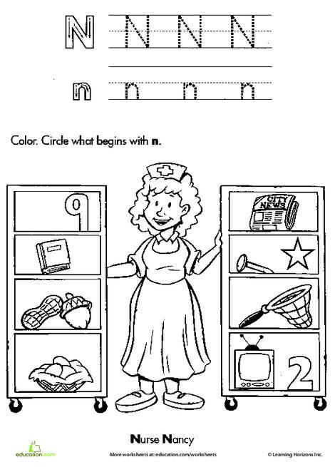 Kindergarten Reading & Writing Worksheets: The Letter N