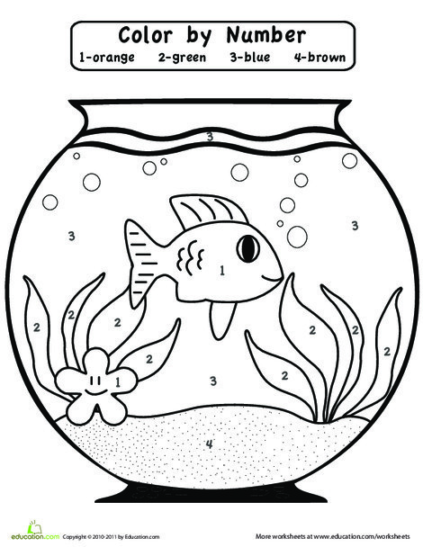 Preschool Math Worksheets: Color by Number: Fishbowl