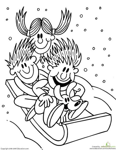 Preschool Seasons Worksheets: Color the Sledding Kids