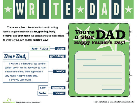 Second Grade Reading & Writing Worksheets: Write a Card to Dad