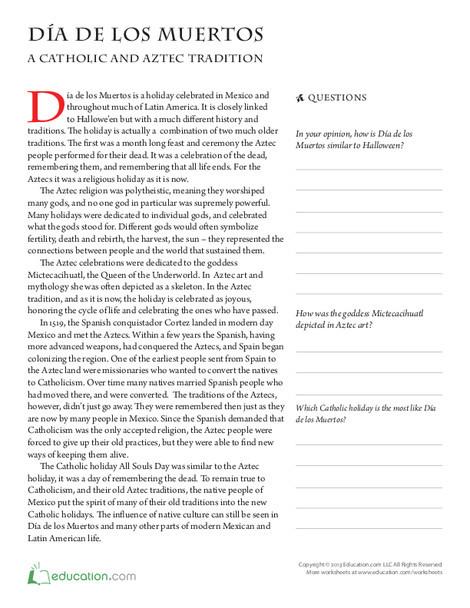 Fourth Grade Seasons Worksheets: Dia de los Muertos History