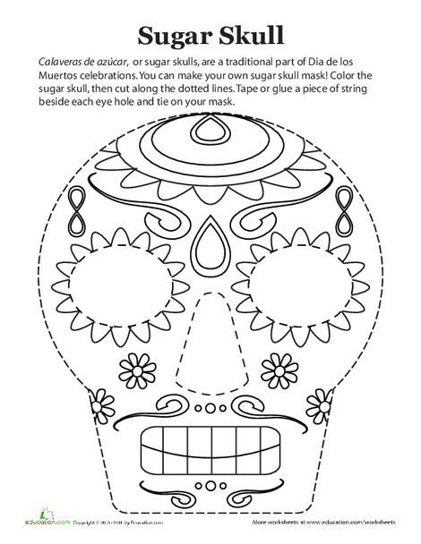 Second Grade Seasons Worksheets: Dia de los Muertos Mask