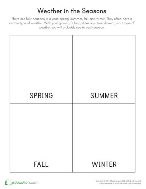Preschool Science Worksheets: Weather in the Seasons