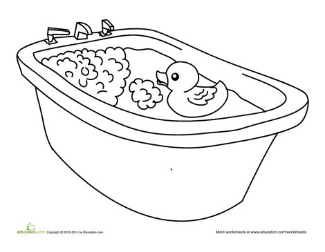 Preschool Coloring Worksheets: Rubber Duck Coloring Page