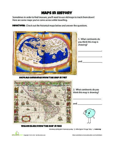Fourth Grade Social studies Worksheets: Historical Maps