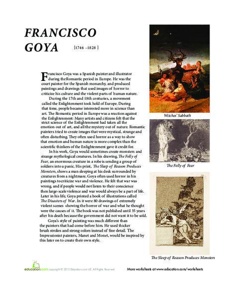 Fifth Grade Fine arts Worksheets: Francisco Goya