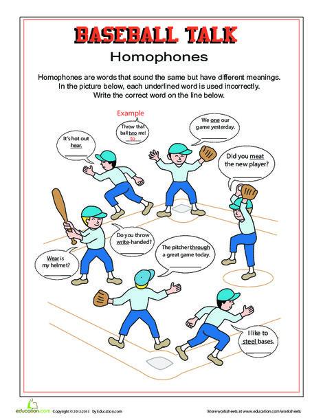Third Grade Reading & Writing Worksheets: Baseball Talk: Homophones