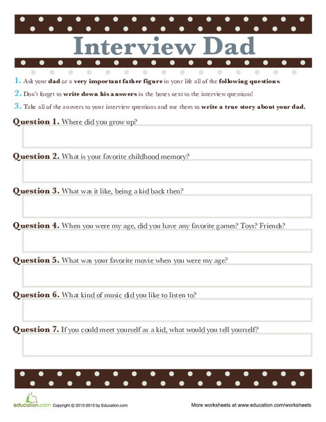 Fifth Grade Holidays Worksheets: Father's Day Essay