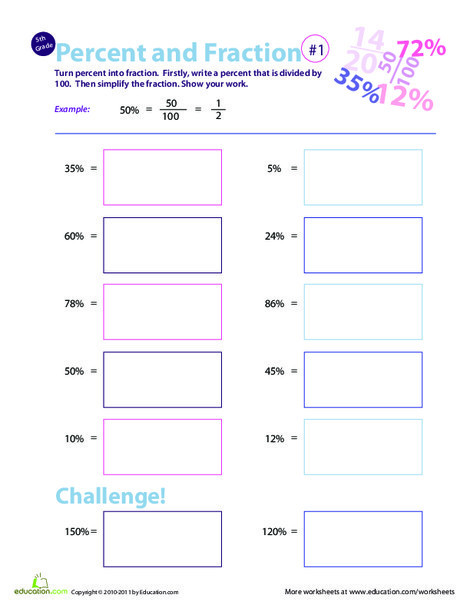 Fifth Grade Math Worksheets: Convert Percent to Fraction