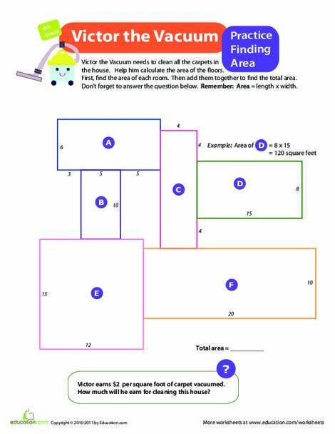 Fourth Grade Math Worksheets: Finding the Area: Victor the Vacuum