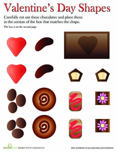 First Grade Math Worksheets: Valentine's Day Shape Match-Up