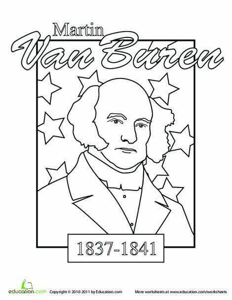 Kindergarten Social studies Worksheets: Color a U.S. President: Martin Van Buren