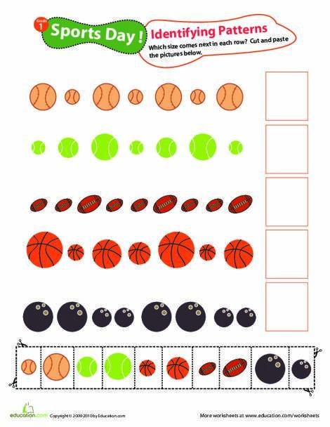 First Grade Math Worksheets: Identifying Patterns: Sports Day!