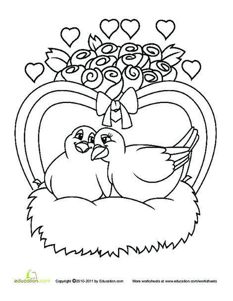 Kindergarten Holidays Worksheets: Color the Love Birds