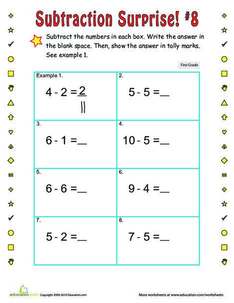 First Grade Math Worksheets: Subtraction Surprise #8