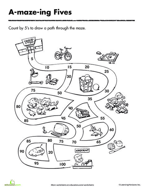 First Grade Math Worksheets: Count by 5's and Make it Through the Maze!