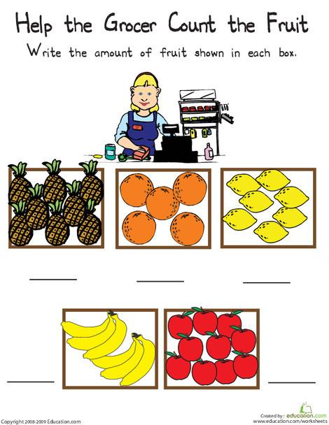 Kindergarten Math Worksheets: Counting Numbers: 5-10