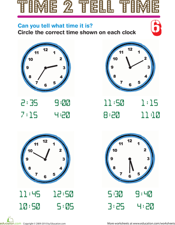 2nd grade worksheets on time