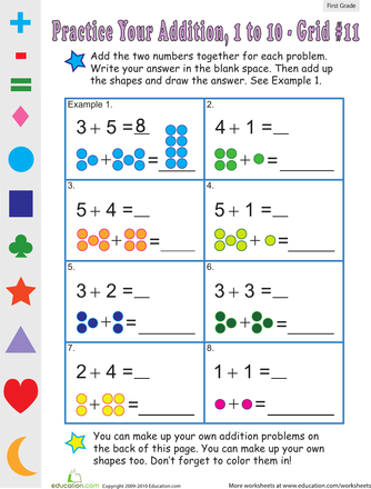 Addition worksheets year 1 tes