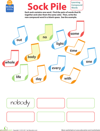 Compound words worksheets for 1st graders