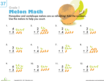 Basic addition worksheets for 1st grade