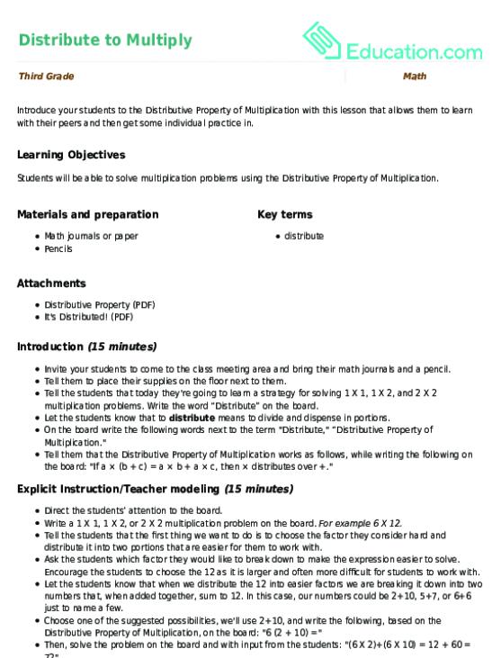 Easy distributive property worksheets third grade