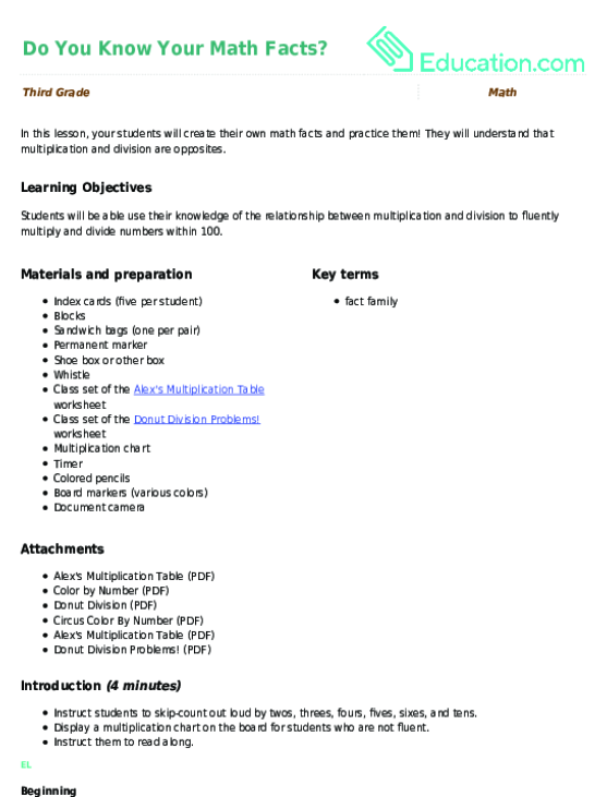Division fact sheet generator