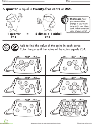 Coin practice worksheets first grade